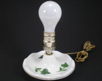 Milk Glass Bedside Lamp with Green Leaves, Mid Century Lighting, White Table Light, Desk Lamp