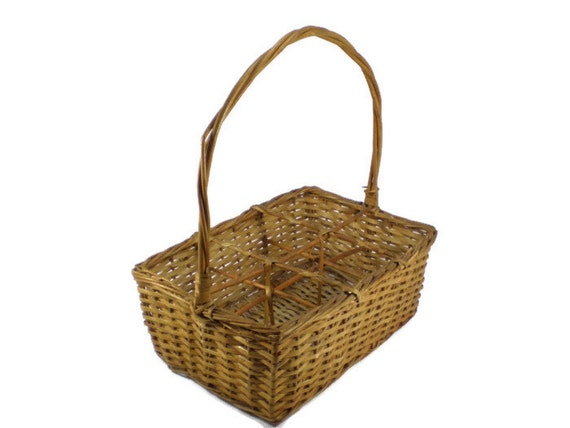 Divided Wicker Basket Rattan 6 Compartment Organizer Glassware