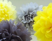 6 Yellow, Gray and White Hanging Tissue Paper Pom Poms  / Choose Dark or Light Grey & Yellows / Ready to Ship