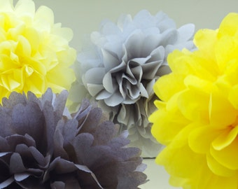 YELLOW, GRAY & WHITE / 6 Tissue Paper Poms / Baby Shower Decor / Birthday Party Decor / Nursery Decor /