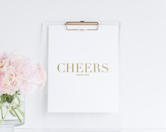 Cheers Darling 8x10 Gold Foil Bar Cart Print