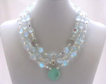 Matte Crystal Necklace Multi Strand Swarovski Jewelry Chalcedony GIFT IDEAS Shell Jewelry Fashion Wear Bridal Jewellery Sea Green Blue White