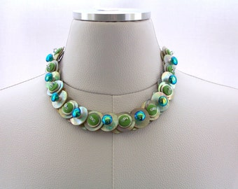 Mother of Pearl Button Necklace, Button Necklace, Mother of Pearl Necklace, with Swarovski Crystals, Blue and Green accents