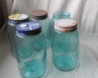 Vintage Blue Mason Jar Vintage Wedding Jar Glass Ball Jar