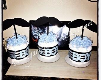 Mustache Diaper Cake Minis/Little Mister Diaper Cake/Mustache Baby Shower/Little Mister Baby Shower/ little man baby shower