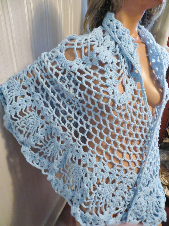 Vintage Shawl Cape Retro 70s Open Weave Lacy Crochet