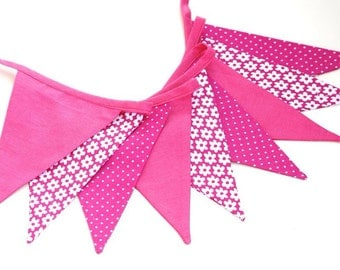 shabby fabric garland, banners, bunting in pink
