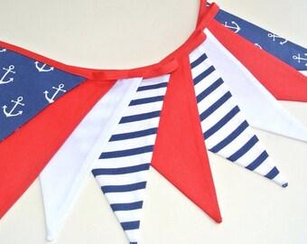 nautical marine shabby fabric garland, banners, bunting, guirlande de fanions de style maritime, anchor