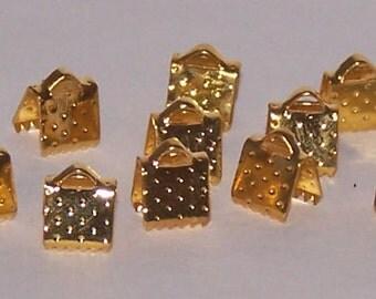 Goldtone end crimps 6 x 6 mm