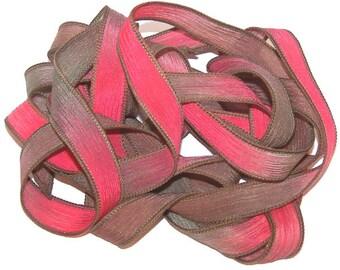 Sassy Silks Hand Painted Silk Ribbon Wrist Wrap Tea Roses