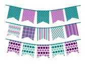 Instant Download - Bunting Banners 041 Purple and Teal Bunting Banner Clipart