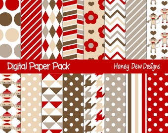 Instant Download - Digital Paper Pack 266 - Red Sock Monkey Digital Paper
