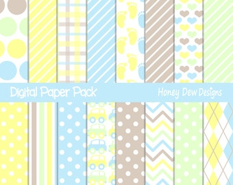 Instant Download - Digital Paper Pack 270 - Baby Boy Digital Paper Pack