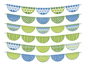 Instant Download - Bunting Banners 040 Blue and Green Bunting Banner Clipart