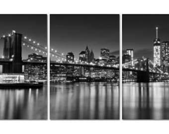 Canvas Gallery Wrap Triptych Black White NYC Skyline Brooklyn Bridge New York City Photography Three 3 Panels Large Wall Art Oversized Print