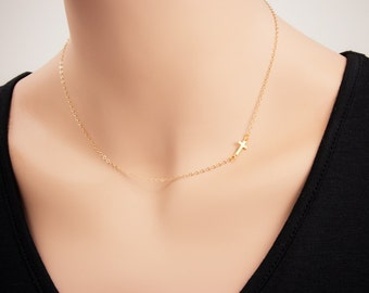 Gold  Small Sideways Cross Necklace - 24k Gold Horizontal Sideways Cross Necklace, Petite Cross, Religious Jewelry, Celebrity Inspired