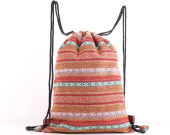 Dazzling Cotton Drawstring Backpack Cloth Bag, Knitting bag, Project Bag, Stash Bag, Book Bag, Beach Bag