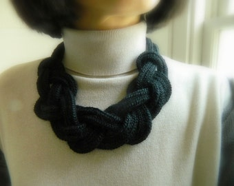 knit scarf necklace fall jewelry infinity Knot necklace big knot Chunky Necklace Nautical Necklace Black Bib necklace knit necklace