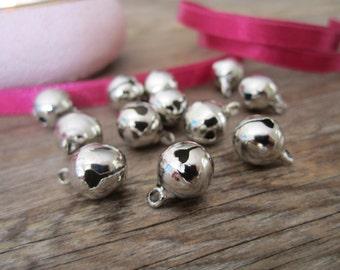 Silver brass jingle bells - 20 pcs. silver bells, Christmas bells, holiday bells, 10mm-12mm bells, silver jingle bells, Indian bells - 20
