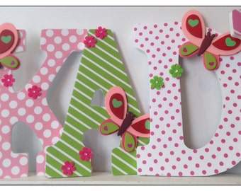 Butterfly Nursery. Pink and Green. Girls Nursery or Bedroom Wall Letters. Pink. Stripes. Green. White. Flowers. Princess.