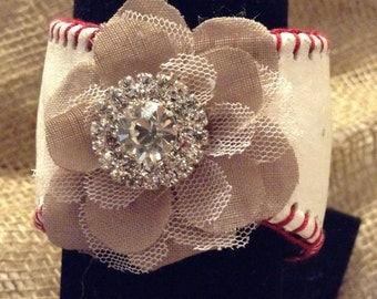 Baseball Cuff Bracelet - with added Feminine Flair