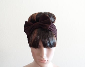 Brown Bow Headband. Bow Head Wrap