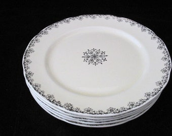 5 Illinois China Company Dinner Plates with Platinum Floral Trim and Center Medallion Vintage 1930s SET of 5