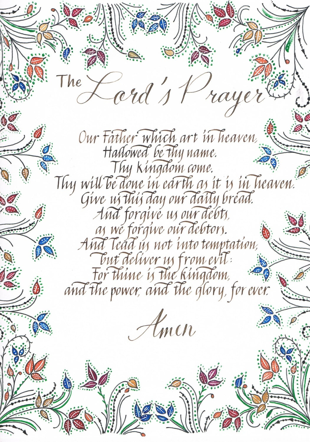 Zany image regarding printable lords prayer