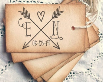 Wedding  Stamp, Self Inking, Wood Mounted, Save the Date stamp, Housewarming Gift - FREE SHIPPING - Arrow Initials