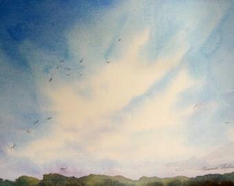 Cloud Painting Blue Sky Birds Soaring Original Watercolor Loose Transparent Watercolour Wet in Wet Big Sky Painting blue green Low Horizon