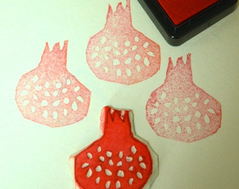 Pomegranate- Handmade Unmounted Rubber stamp