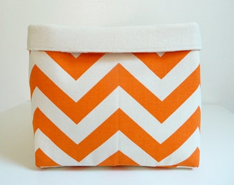 Chevron Storage Basket Fabric Organizer in Zig Zag Mandarin Orange Natural - Toy, Nursery Storage, Home, Office - Choose Size