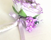 Wedding Fabric Boutonnière, Groom Accessory Silk Flowers, Vintage Wedding, Lilac Roses Green Lilac Hydrangea, English Garden - READY TO SHIP