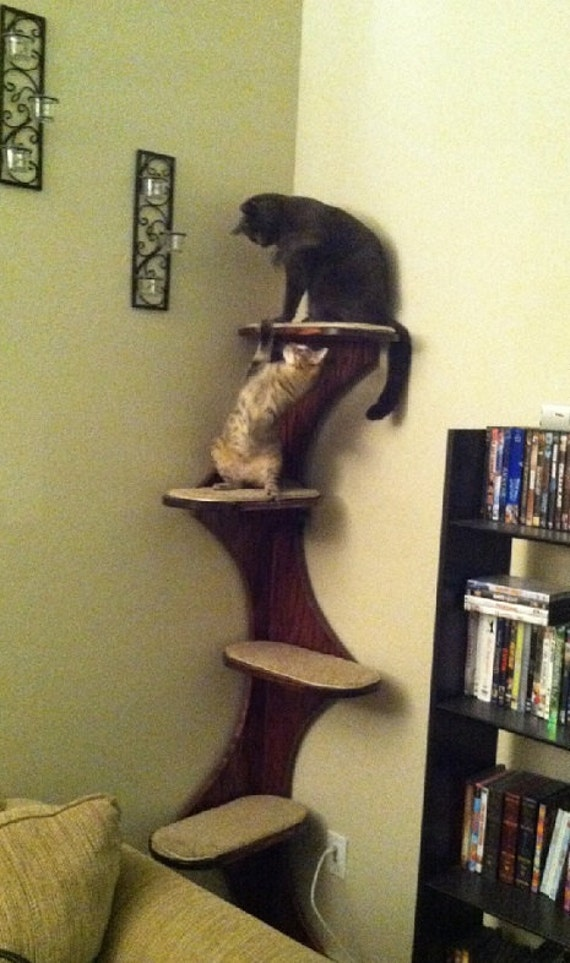 "Cat Tower, Corner Climbing Cat Tree. 68"" Real Oak Ply Wood Furniture For Kitties. Cat scratching post, climbing tower."