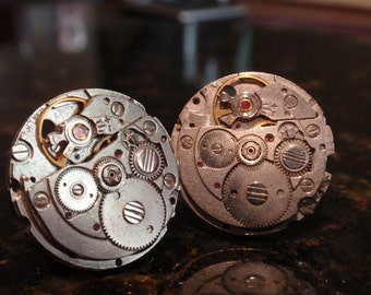 Steampunk Cuff links, Matching Vintage Watch Mechanisms, Industrial Style, Groom, Best Man, Groomsman, Wedding Accessory 23 MM