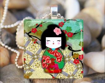 JAPANESE WASHI DOLL Kokeshi Chiyogami Ningyo Doll Glass Tile Pendant Necklace Keyring