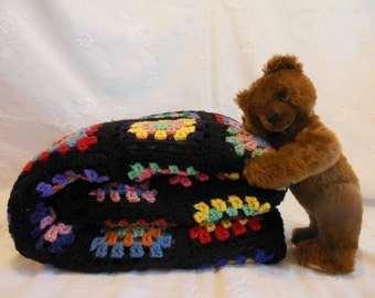 1950's Gorgeous Crocheted all WOOL Afghan ~ Handmade ~ Vintage Country Cottage ~ Rustic Cabin Decor ~ Multi Colored Granny Squares