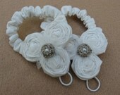 Ivory Rosette Baby Barefoot Sandals, Muslin and Burlap Barefoot Sandals, Baby Sandals