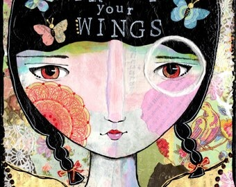 8 x 8 archival print of my original mixed media piece collage vintage papers wings angel home decor girl inspirational art