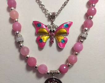 Hope & Strength Affirmation Butterfly Charm Faceted Pink Jade Necklace