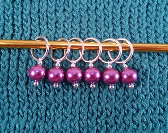 Lilac Glass Pearl Stitch Markers set of 6