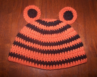 Baby Tigers Hat, Halloween Costume Beanie for Infant, Child, Teen, or Adults, Bengals, Tigers Fan, Newborn Photo Prop, Clemson Baby Gift