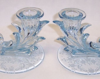 Fostoria Elegant Glass Azure Blue MEADOW ROSE Single Lite Candle Holders, Pair