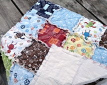 Baby Boy Rag Quilt Lovey, in Robert Kaufman's 'Rober Factory' fabric, READY TO SHIP