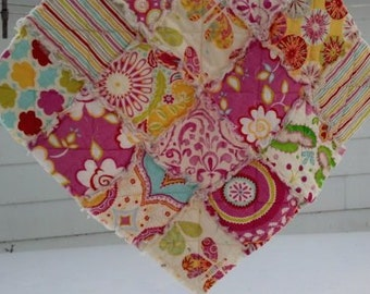Rag Quilt Lovey in Dena Designs Kumari fabric, Mini Blanket, READY TO SHIP