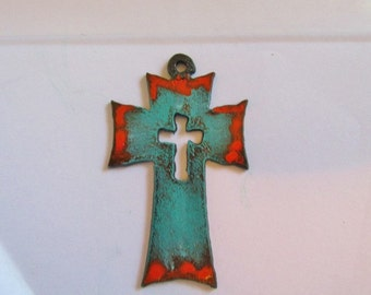 Rustic cross pendant #CC011patina