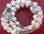 White Glass Bead and Silver Bracelet, White Beaded Wrap Around Bracelet, White Glass Beaded and Silver Bracelet