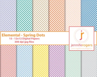 Instant Download Printable Spring Polka Dot Digital Paper, 12 x12 Digital Scrapbooking Paper, Invitation Paper, Commercial Use