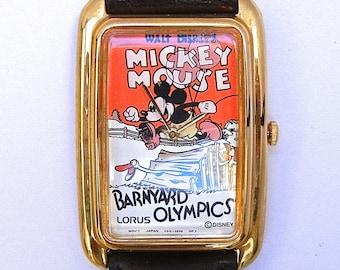 Vintage Disney Mickey Mouse Barnyard Olympics by Lorus - Comic Character Watch with Tin - Disneyama - Original Box