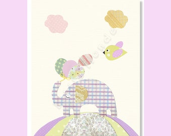 Baby Girl Nursery Prints, Nursery Wall Decor, Purple Nursery Prints, Elephant Nursery Print, Nursery Art, Nursery Wall Decor, Animal Friends